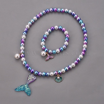 Plastic Imitation Pearl Stretch Bracelets and Necklace Jewelry Sets, with Mermaid Tail Shape Resin Pendants and Alloy Enamel Pendants, Whale Tail Shape, Shell, Medium Orchid, 1-5/8 inches(4cm), 15.7 inches(40cm)(X-SJEW-JS01053-02)