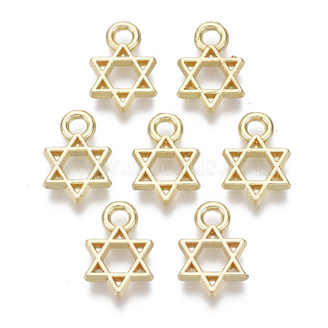 Alloy Charms, Star of David, Light Gold, 12x8x1.5mm, Hole: 2mm(PALLOY-S132-084)