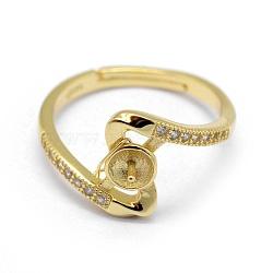 регулируемые 925 элементы кольца из стерлингового серебра, за половину пробурено бисера, с кубического циркония, золотой, Размер 5, 15.5 mm; лоток: 3.5 mm, контактный: 0.7~1 mm(STER-P041-55G)