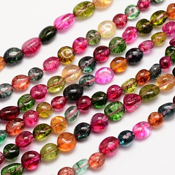 Natural Crackle Quartz Bead Strands, Dyed, Nuggets, Colorful, 8~10x8~10mm, Hole: 1mm; about 15.74inches(X-G-L459-16)