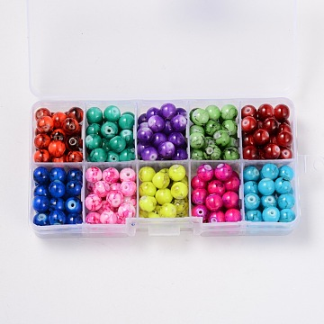 8mm Mixed Color Round Drawbench Glass Beads