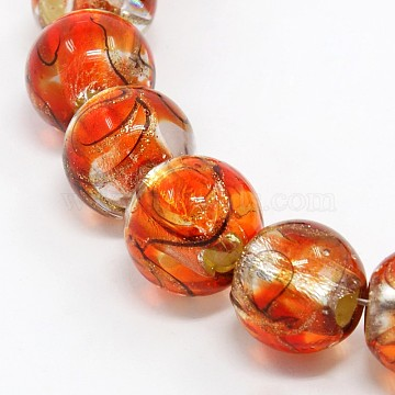 Handmade Silver Foil Glass Lampwork Round Beads Strands, with Gold Sand, Red, 12mm, Hole: 2mm, about 23pcs/strand, 9.84 inches(X-FOIL-L008-01E)