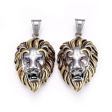 Antique Silver & Antique Golden Lion Stainless Steel+Rhinestone Pendants