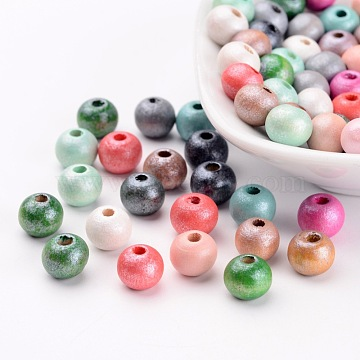 Round Natural Wood Beads, Dyed, Lead Free, Mixed Color, 7~8x8~9mm, Hole: 2~3mm; about 122pcs/20g(Y-WOOD-Q017-8mm-M-LF)