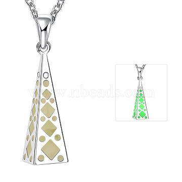 Zinc Alloy Hollow 3D Triangle Noctilucent Necklaces, with Cable Chains, Fluorescent Green, Silver Color Plated, 19.6 inches(NJEW-BB03194-A)