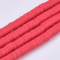perles d'argile polymère faites à la main écologiques, disque / rond plat, perles heishi, rouge, 4x1 mm, trou: 1 mm, environ 380~400 pcs / brin, 17.7 pouces