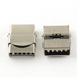 Surface lisse fermoirs de bande de montre 201 en acier inoxydable, couleur inoxydable, 25x19x7mm, Trou: 16x3mm(X-STAS-R063-81)