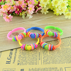 Children's Day Jewelry, Kids Acrylic Bangle Bracelets, Mixed Color, 44mm(BJEW-S086-M)