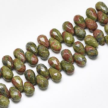 9mm Teardrop Unakite Beads