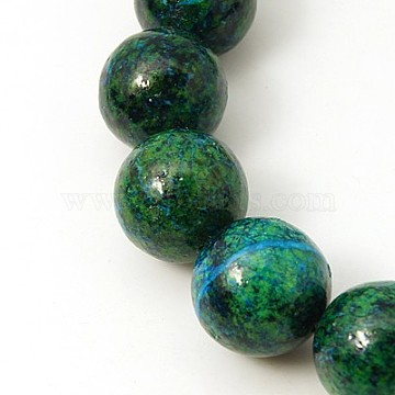 Gemstone Beads Strands, Synthetic Chrysocolla, Dyed & Heated, Round, Green, 18mm, Hole: 2mm, 15.15inches(G-C211-18mm-1)