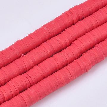 Eco-Friendly Handmade Polymer Clay Beads, Disc/Flat Round, Heishi Beads, Red, 4x1mm, Hole: 1mm, about 380~400pcs/strand, 17.7 inches(X-CLAY-R067-4.0mm-30)
