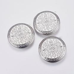 Pendentifs médaillon en 304 acier inoxydable, plat et circulaire avec fleur, couleur inoxydable, 48x44x9.5mm, trou: 2 mm; dimensions intérieures: 30 mm(STAS-P225-002P)