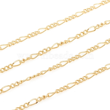 Brass Figaro Chain, Twisted Chain, Soldered, for Jewelry Making, Real 18K Gold Plated, Link: 2.4x1.8x0.9mm, 4.5x2x1mm(X-CHC-G012-04G)
