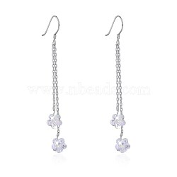 925 Sterling Silver Earrings, with Austrian Crystal, Flower, Platinum, Crystal Mauve, 71x5mm(EJEW-BB30494)