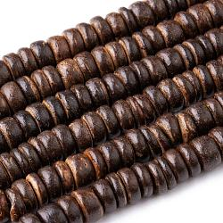 Coco Nut Beads Strands, Flat Round, Chocolate, 8x2~6mm, Hole: 2mm, about 88~110pcs/strand, 14.56 inches~16 inches(CP014Y)