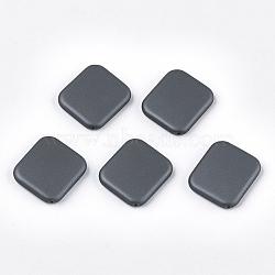 perles acryliques de style caoutchoutées, rectangle, slategray, 38x39x7 mm, trou: 1.8 mm(MACR-T026-20C)