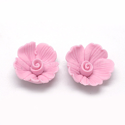 Handmade Porcelain Cabochons, Flower, PearlPink, 17~18x17~18x7~8mm(X-PORC-S1008-34D)