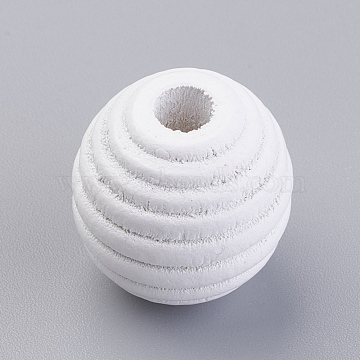 Natural Wood Beehive European Beads, Dyed, Round, White, 19~20x19mm, Hole: 5mm, about 200pcs/500g(WOOD-Q030-54G)
