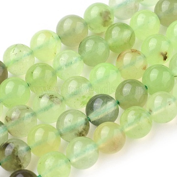 Natural Prehnite Beads Strands, Round, 8~8.5mm, Hole: 1mm, about 47~48pcs/strand, 15.7 inches(40cm)(X-G-I250-01D)