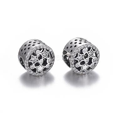 Hollow 925 Sterling Silver European Beads, Large Hole Beads, with Cubic Zirconia, Carved with 925, Flat Round with Star, Thai Sterling Silver Plated, 11x8.5mm, Hole: 4.5mm(OPDL-L017-023TAS)