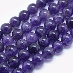 Natural Amethyst Beads Strands, Round, 6mm, Hole: 1mm; about 65pcs/strand, 15.7inches(39.8cm)