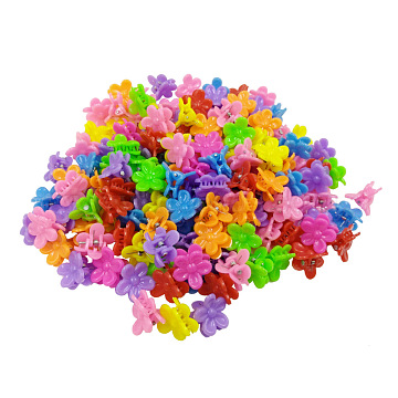 Kids Hair Accessories, Plastic Claw Hair Clips, Flower, Mixed Color, 19x19mm; about 100pcs/bag(OHAR-S197-007E)