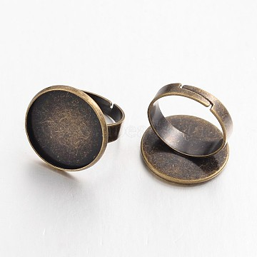 Adjustable Antique Bronze Plated Brass Pad Ring Settings, Nickel Free, Tray: 18mm, 17mm(X-KK-E563-06AB-NF)