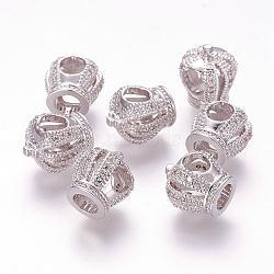 Perles européennes creux en laiton avec zircone cubique de micro pave, couronne, Perles avec un grand trou   , platine, 13x12x10mm, Trou: 5mm(ZIRC-G091-75P)