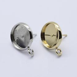 Laiton supports pour dormeuses, avec boucle, plat rond, couleur mixte, plateau: 12 mm; 18x14 mm, trou: 2 mm; broches: 0.8 mm(X-KK-P131-01A-12mm)
