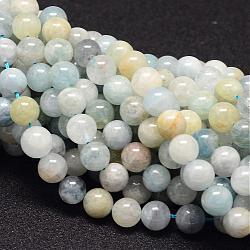 """Chapelets de perles en aigue-marine naturelle, rond, 6mm, trou: 1mm; environ 64 pcs/chapelet, 15.7""""(G-P132-10-6mm)"""