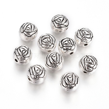 10mm Flat Round Alloy Beads
