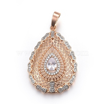 Light Gold Clear Drop Brass+Cubic Zirconia Pendants