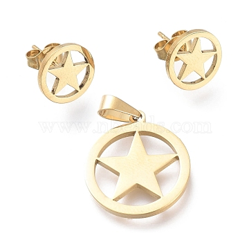 304 Stainless Steel Jewelry Sets, Pendants and Stud Earrings, with Ear Nuts, Ring with Star, Golden, 20x17.5x1mm, Hole: 5x3.2mm; 10.3mm, Pin: 0.7mm(SJEW-K154-27G)