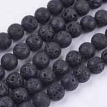8mm Black Round Lava Beads(G-R193-18-8mm)