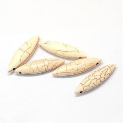 Pendentifs howlite synthétiques, riz, peachpuff, 27~28x8x6mm, Trou: 1.5mm(TURQ-S283-01A)