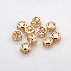 véritables perles de strass en laiton plaqué or 18 k, plat rond, rose clair, 7x4 mm, trou: 2x2 mm(KK-J198-27G)