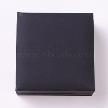Imitation Leather Jewelry Bracelet/Bangle Boxes, with Velvet, Square, Black, 9.05x8.85x4.05cm(CON-WH0068-77)