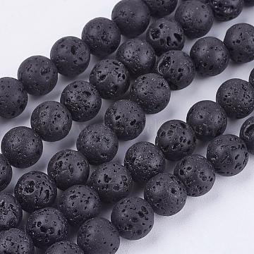 """Lave naturelle brins pierre de perles, rond, 8mm, trou: 1mm; environ 50 pcs/chapelet, 15.7""""(G-R193-18-8mm)"""
