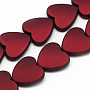 Rubberized Style Acrylic Beads, Heart, Brown, 20x20x6mm, Hole: 2mm