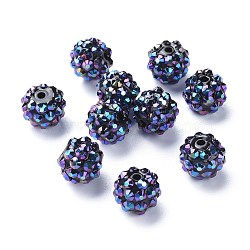 Resin Rhinestone Beads, Round, Camellia, 12mm, Hole: 1.5mm(RESI-M002-7)