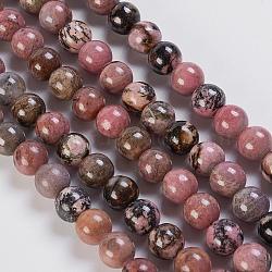 """Chapelets de perles en rhodonite naturelle, rond, 10mm, trou: 1mm; environ 37 pcs/chapelet, 15.3""""(G-K254-04-10mm)"""