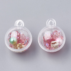 Открывающиеся пластиковые подвески, с абс пластмассовой имитационной жемчужиной, смолы стразы и ракушки внутри, круглые, розовые, 25.5x20 мм, отверстие : 2 мм(KY-N005-01B)