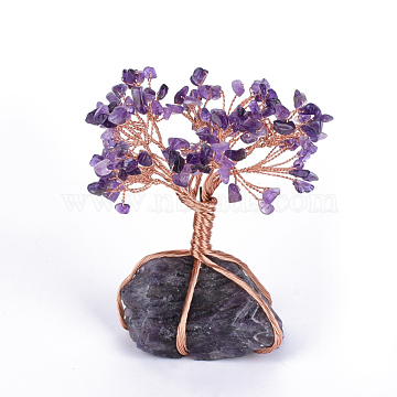 Natural Amethyst Chips and Amethyst Pedestal Display Decorations, with Rose Gold Tone Aluminum Wires, Lucky Tree, 120~150x65~80x52~72mm(G-S282-03)