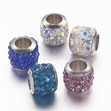 Brass Pave Polymer Clay Grade A Rhinestone Column European Beads, Mixed Color, 8.5x7.5mm, Hole: 5mm(X-CPDL-L001-02)