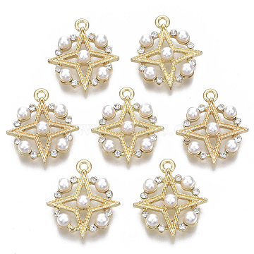 Alloy Pendants, with ABS Plastic Imitation Pearl, with Crystal Rhinestone, Flat Round with Star, Light Gold, 19x16.5x4.5mm, Hole: 1.4mm(PALLOY-S132-098)