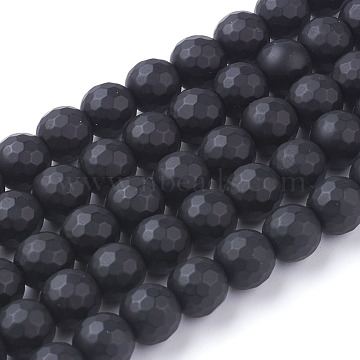 Synthetic Black Stone Beads Strands, Dyed, Faceted, Frosted, Round, Black, 8mm, hole: 0.5mm, 46pcs/strand, 14.76 inches(X-G-C059-8mm-1)