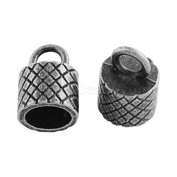Tibetan Style Alloy Cord Ends, End Caps, Cadmium Free & Nickel Free & Lead Free, Antique Silver, 15x10.5x10.5mm, Hole: 4mm; about 362pcs/1000g(TIBEP-Q034-AS-NR)