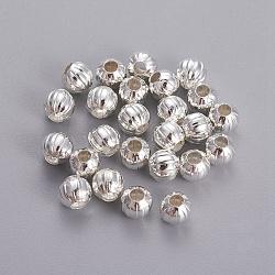 Plaqué argent diy chaude billes de fer rondes en carton ondulé, 6 mm de diamètre, Trou: 2mm(X-E185Y-S)