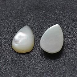 Cabochons en coquille, goutte , blanc, 9x7x2mm(SSHEL-E567-24C)