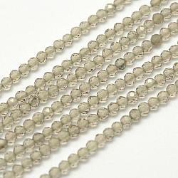 Chapelets de perles d'obsidienne de glace naturelle, facette, rond, tan, 2.5mm, trou: 0.5mm; environ 150 pcs/chapelet, 14.9 (38 cm)(G-F507-03)